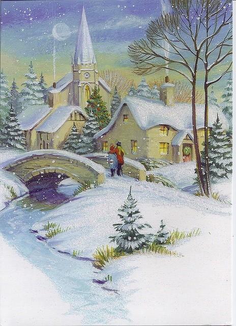 Paysages de neige noel en peinture page 2 Christmas card scenes to paint