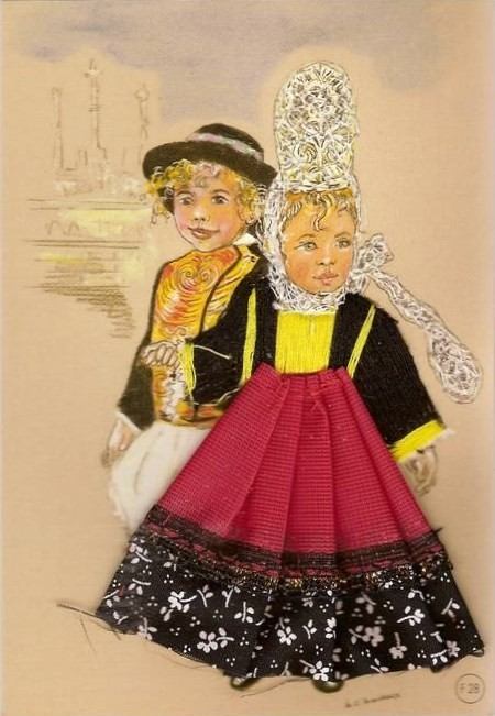 Carte brodée- Folklore Breton