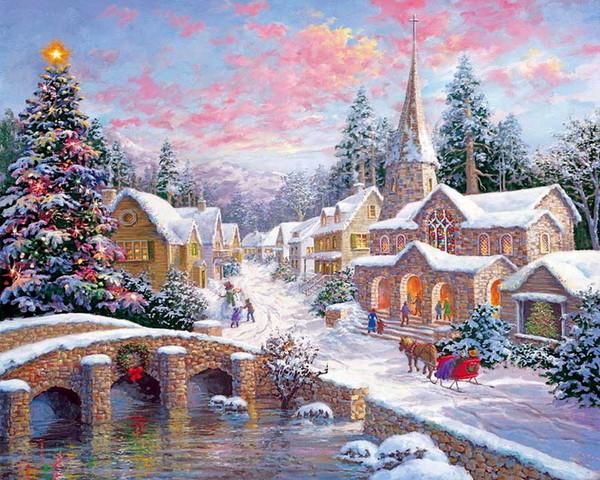 Paysages de neige noel en peinture page 4 - Paysage enneige dessin ...