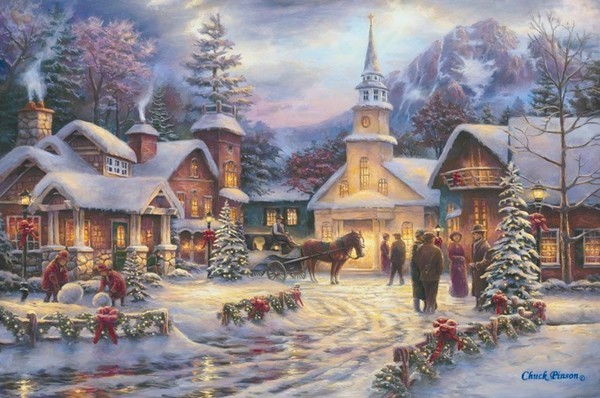 old fashioned christmas town wallpaper - photo #19