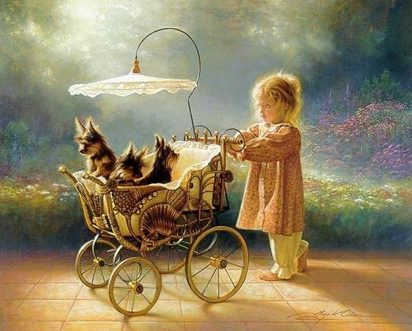 Image - La fillette et les chiots