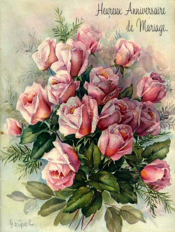 Images d 39 poque et victoriennes ancienne carte d 39 anniversaire - Image bouquet de roses gratuit ...