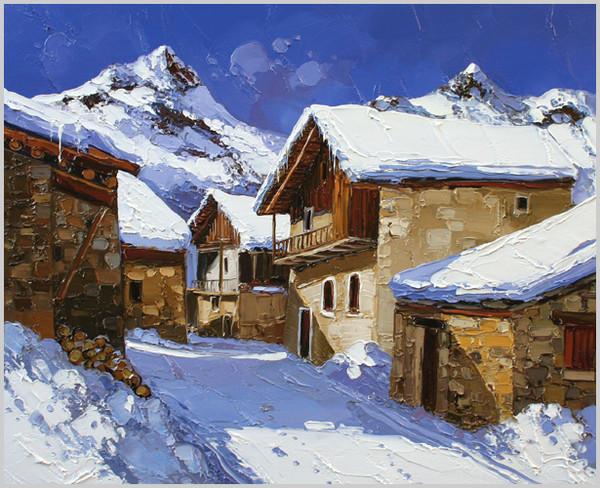 paysage de neige en peinture
