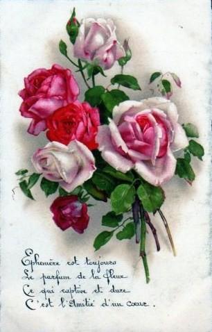 Carte ancienne ( Fleurs)