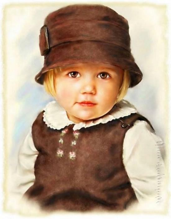 Superbe Portrait Enfants En Peinture