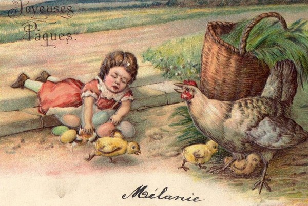 Carte ancienne de Pâques