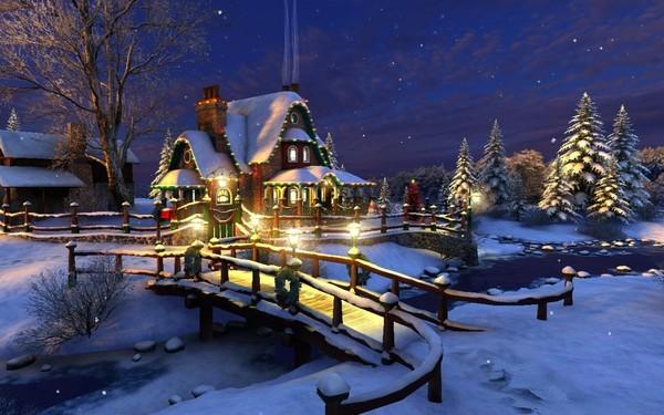 Paysages de neige noel en peinture page 3 - Paysage de noel gratuit ...