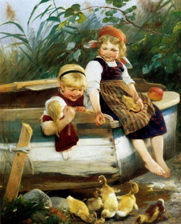 Image ancienne (enfant-animaux)