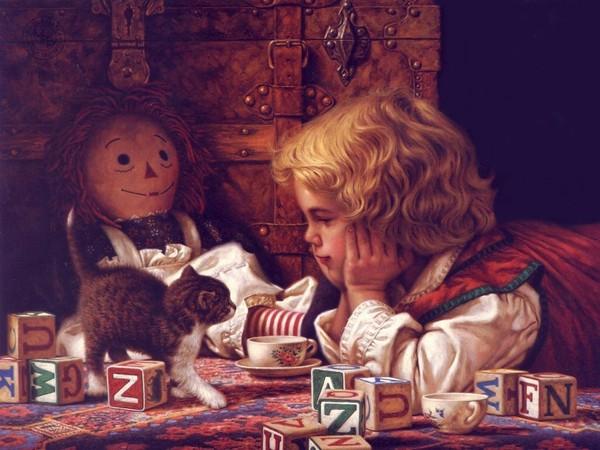 Image -  Enfant et chaton
