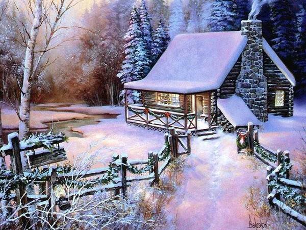 paysages de neige noel en peinture page 5. Black Bedroom Furniture Sets. Home Design Ideas