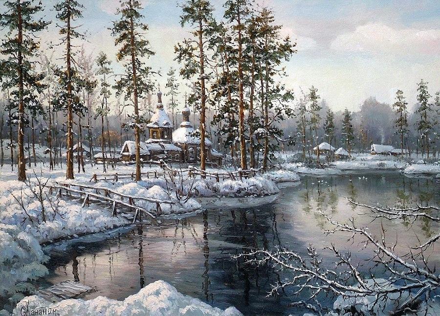 Саврасов Грачи прилетели Картина фото пейзаж