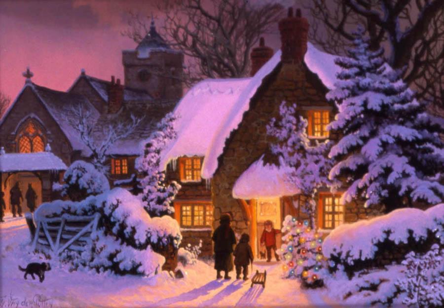 Paysages de neige noel en peinture page 6 - Peinture de noel ...