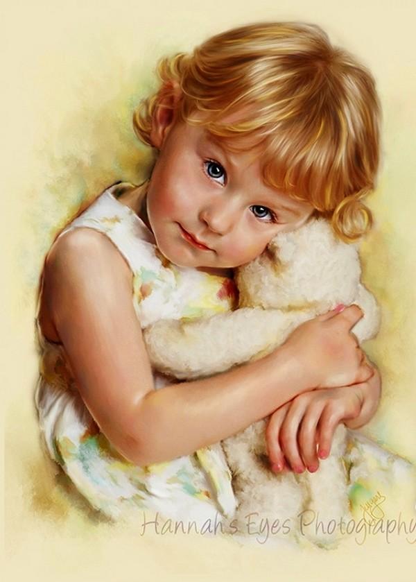 Superbe portrait enfants en peinture for Rehausseur 3 ans et plus